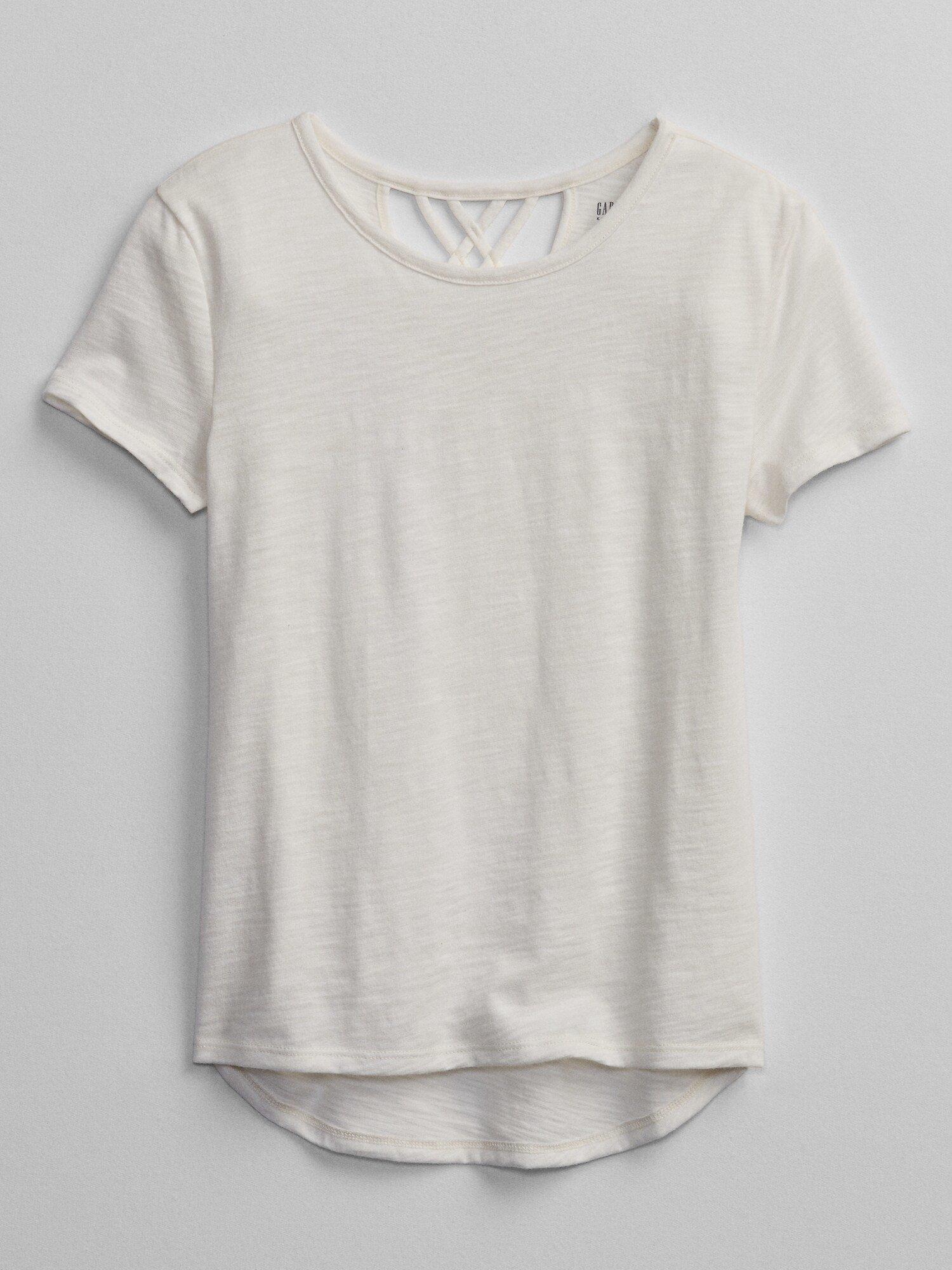 Bílé holčičí dětské tričko v-crossback