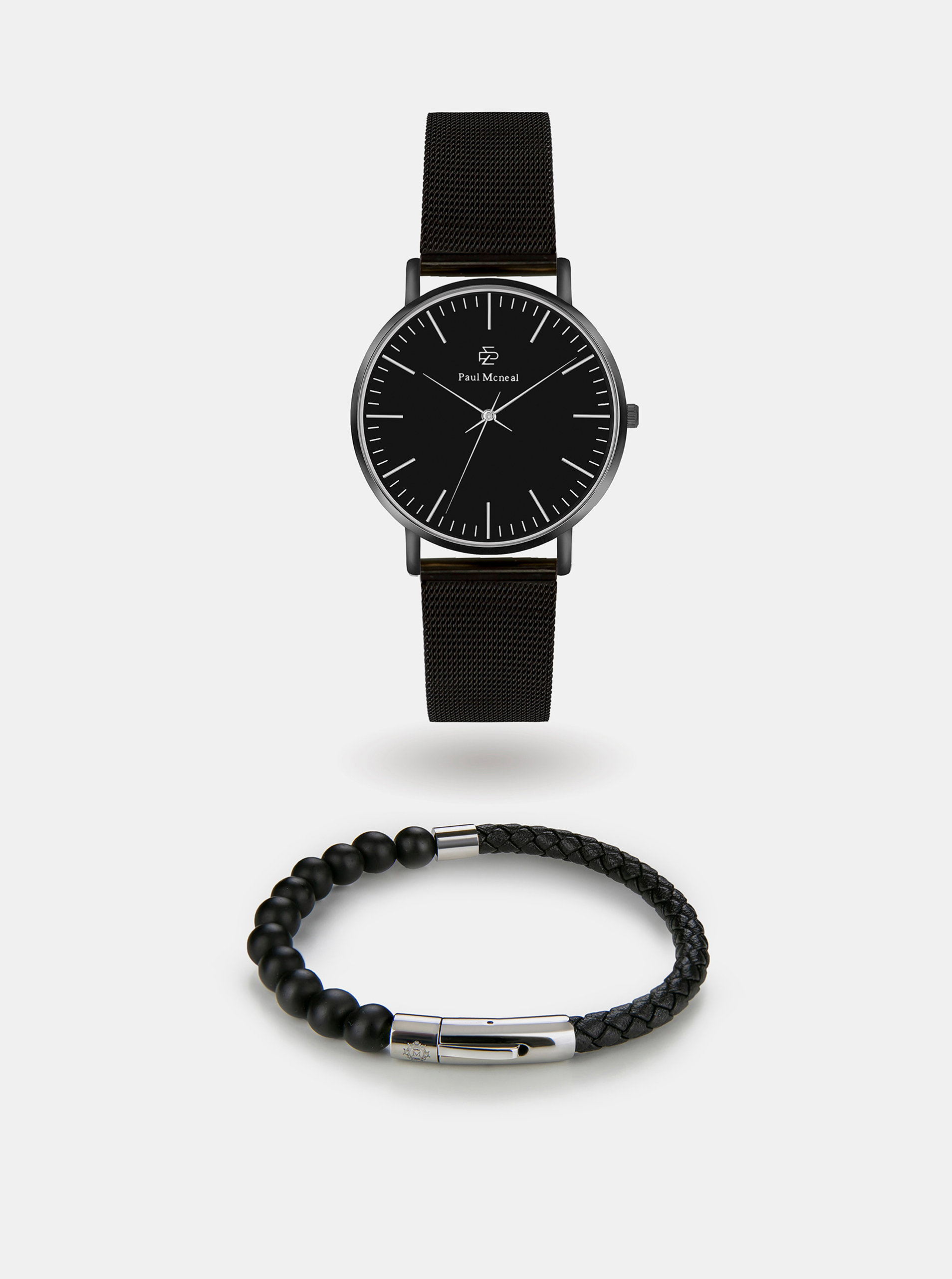 Sada pánských hodinek a náramku v černé barvě Paul McNeal