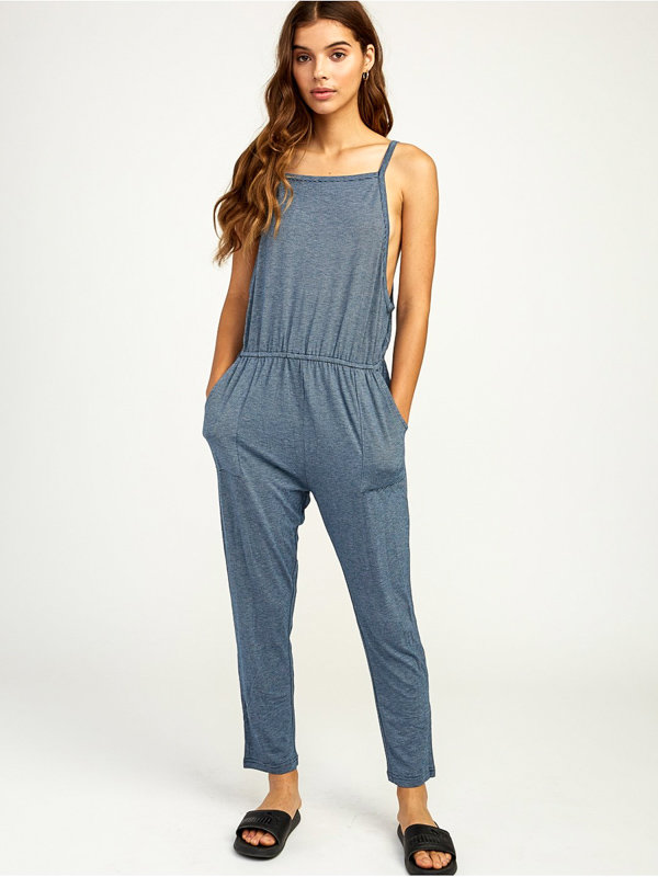 RVCA WAYLIN JUMPER POSEIDON BLUE plátěné kalhoty dámské - modrá