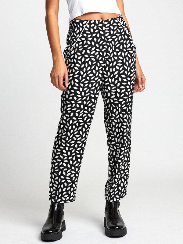 RVCA KAYLN black plátěné kalhoty dámské - černá
