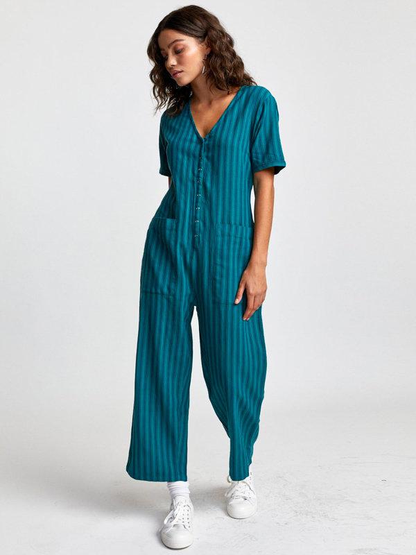 RVCA MOON STORM GREEN plátěné kalhoty dámské - modrá