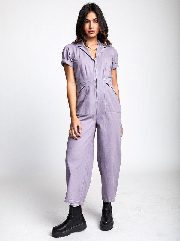 RVCA LILLI CRYSTAL LILAC plátěné kalhoty dámské - fialová
