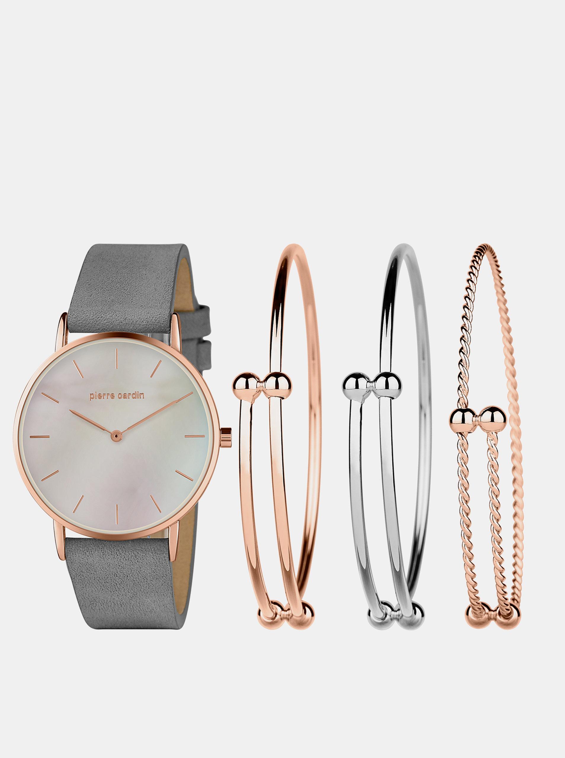Sada dámských hodinek s koženým páskem a tří náramků ve stříbrné a růžovozlaté barvě Pierre Cardin