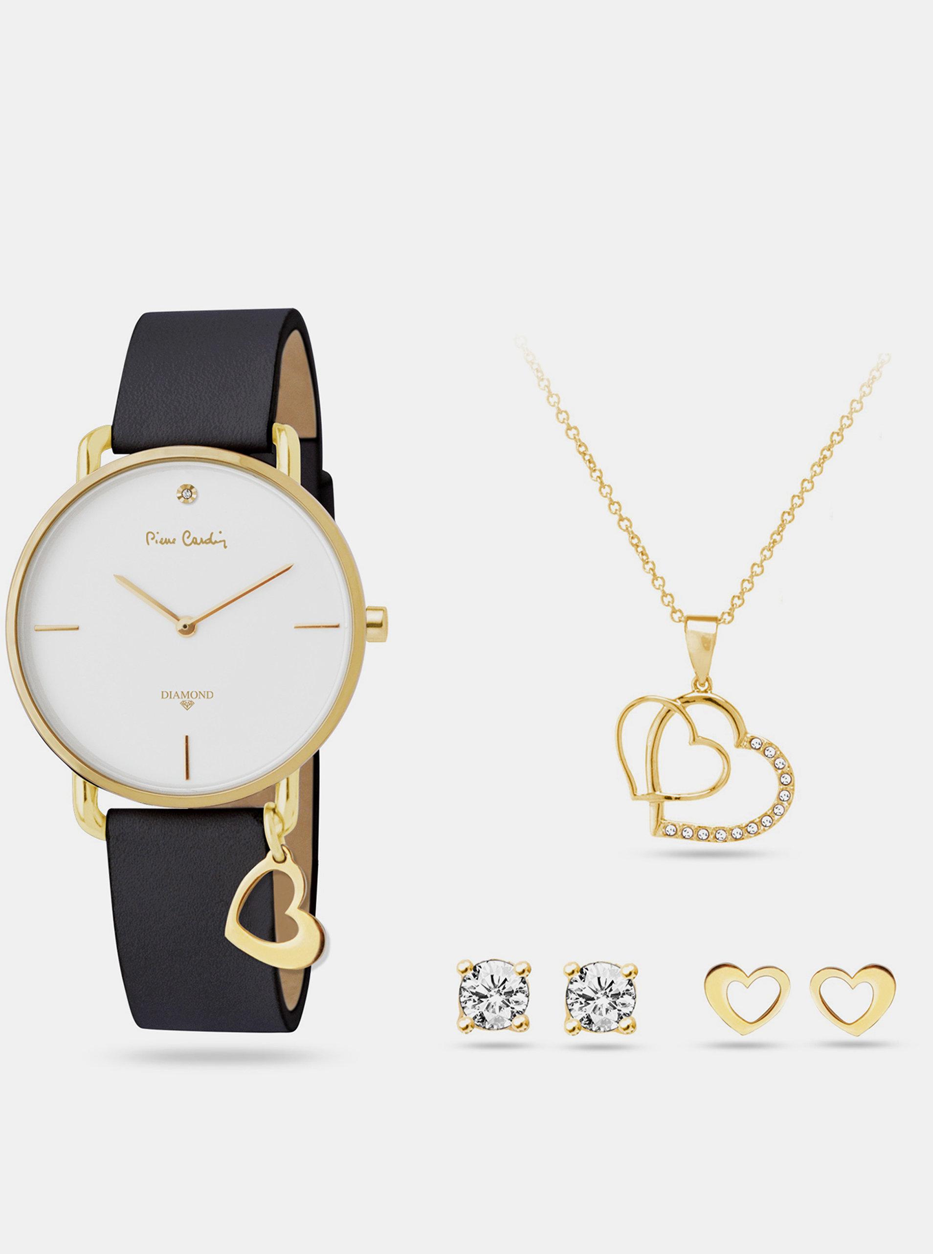 Sada dámských hodinek s koženým páskem a šperků ve zlaté barvě Pierre Cardin