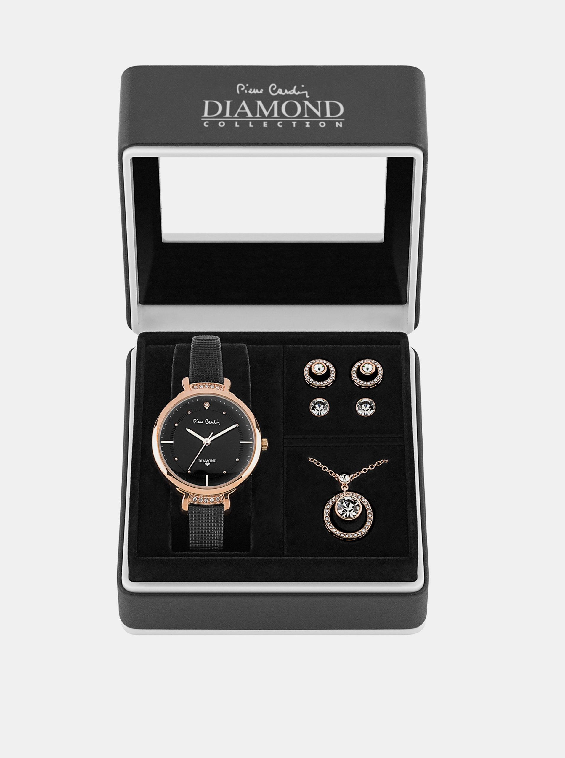 Sada dámských hodinek s koženým páskem a šperků v růžovozlaté barvě Pierre Cardin