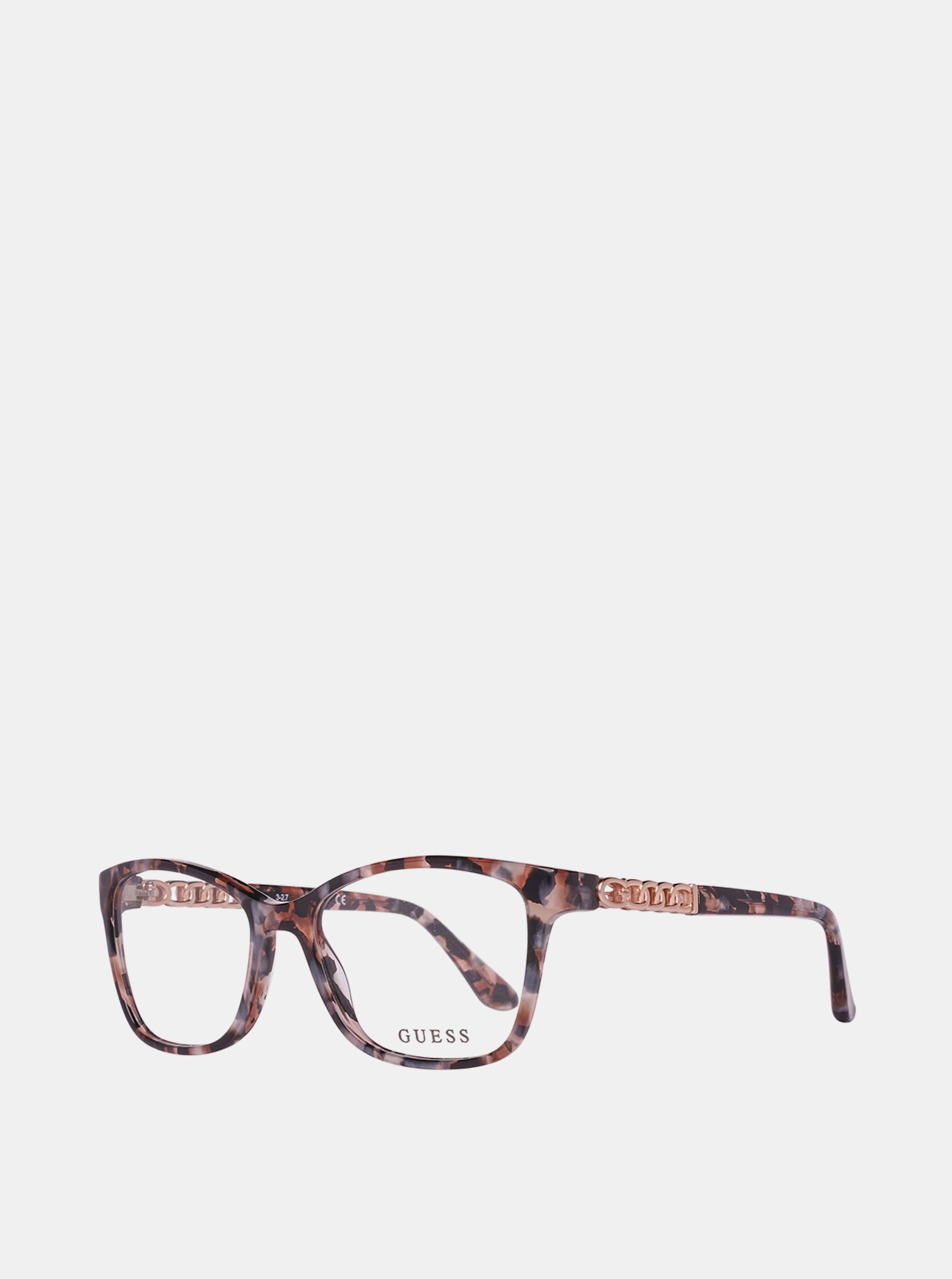Starorůžové dámské vzorované obroučky brýlí Guess