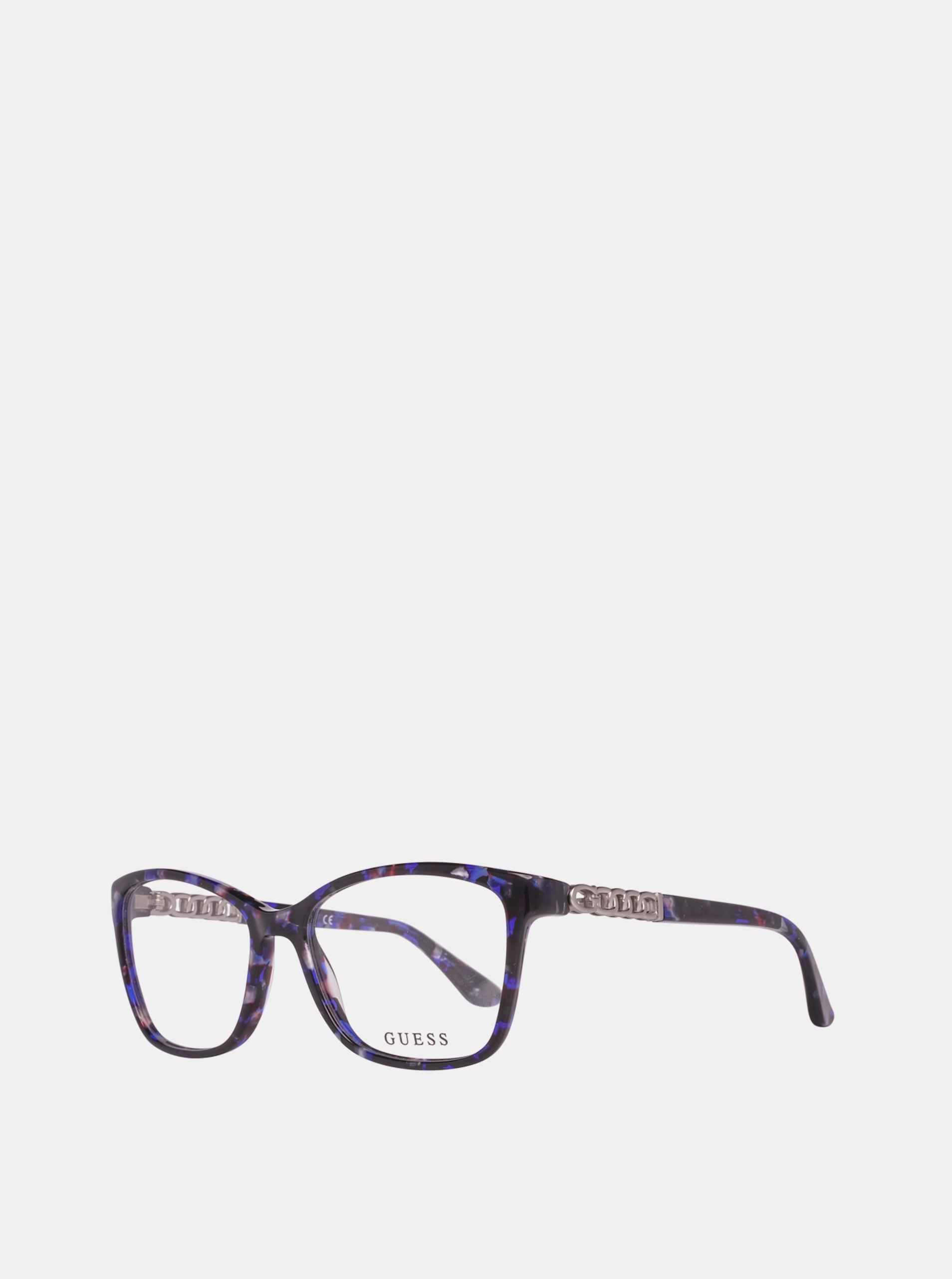 Tmavě modré dámské vzorované obroučky brýlí Guess