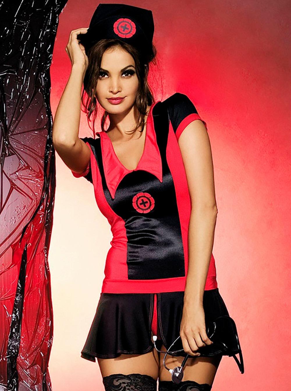 Sexy kostým Naughty nurse dress - Obsessive černá/červená