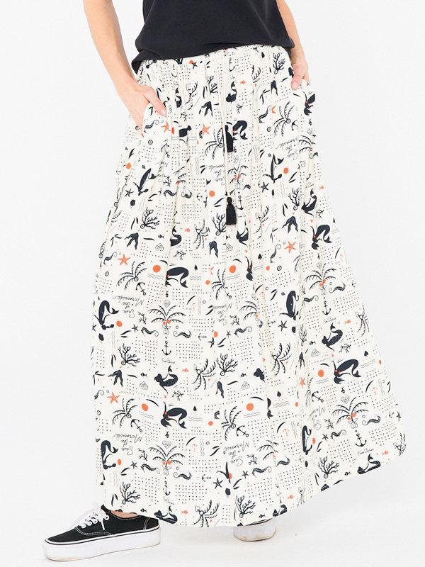 Femi Stories STIGA SOL dlouhá letní sukně - bílá
