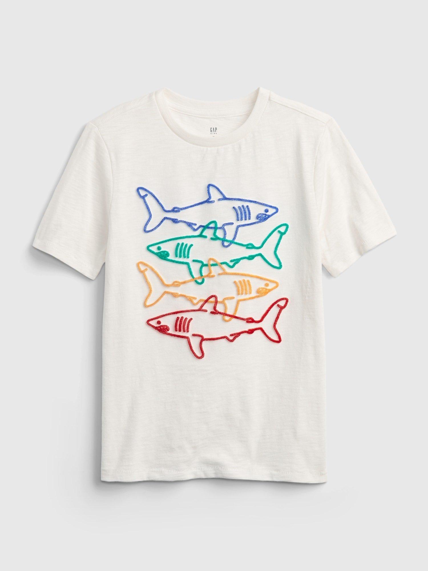 Bílé klučičí dětské tričko shark graphic t-shirt