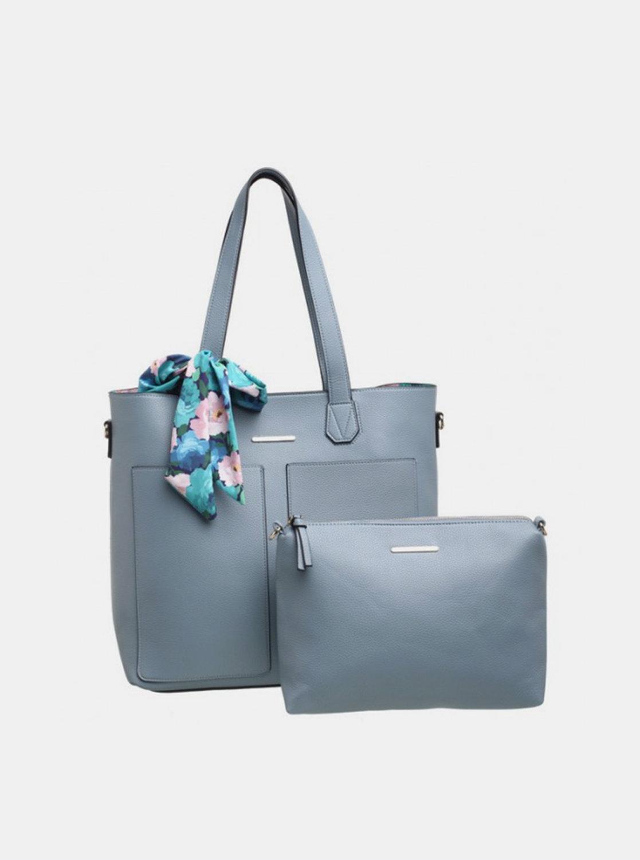 Světle modrá kabelka s pouzdrem a ozdobným šátkem Bessie London