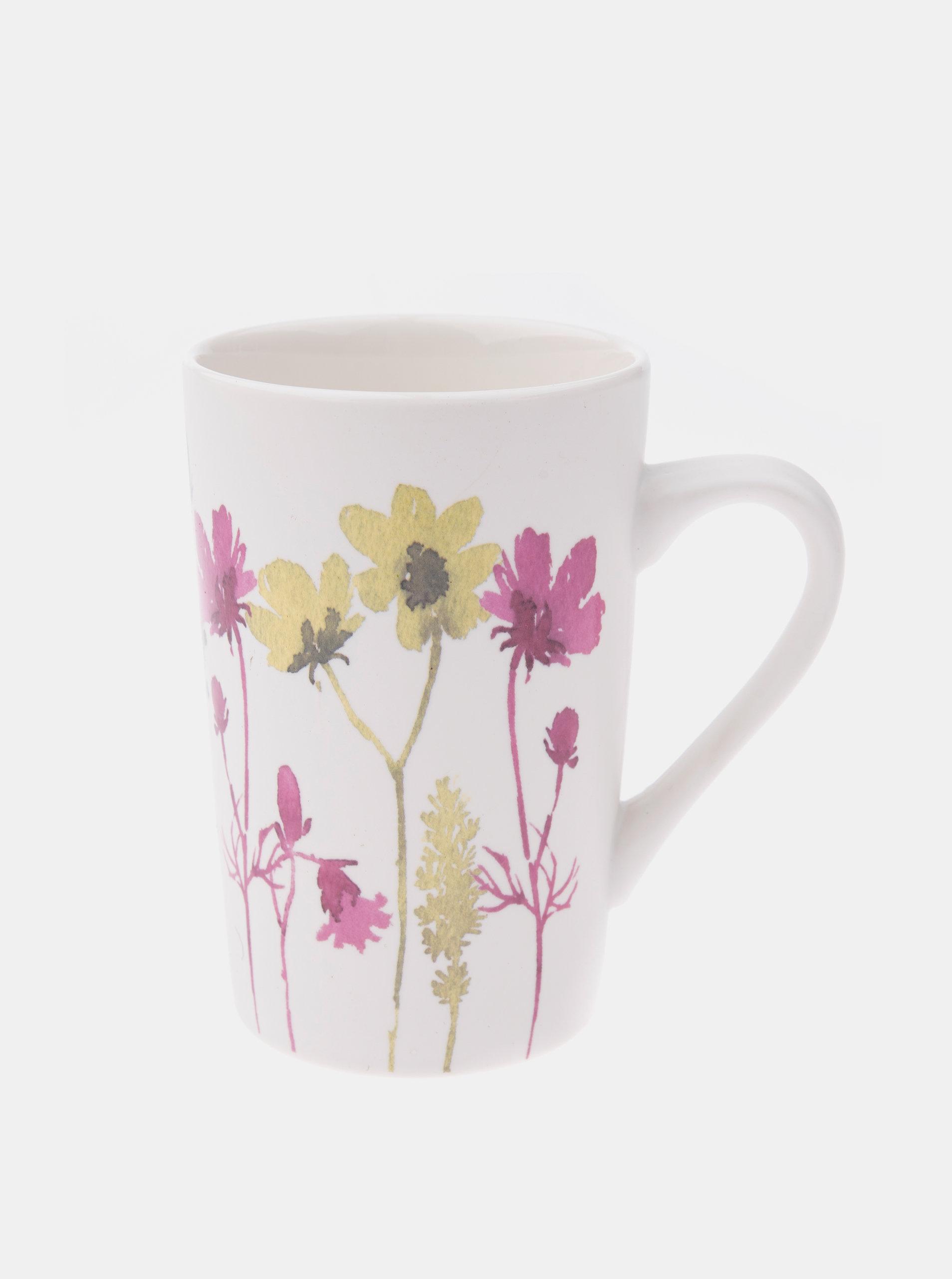 Bílý květovaný porcelánový hrnek Dakls 370 ml
