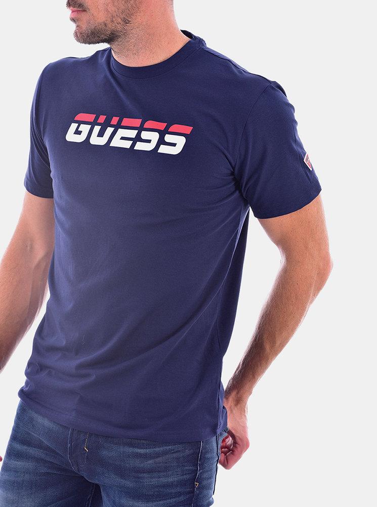 Pánské tričko s krátkým rukávem U0BA47K6YW1 - D780 modrá - Guess tm.modrá