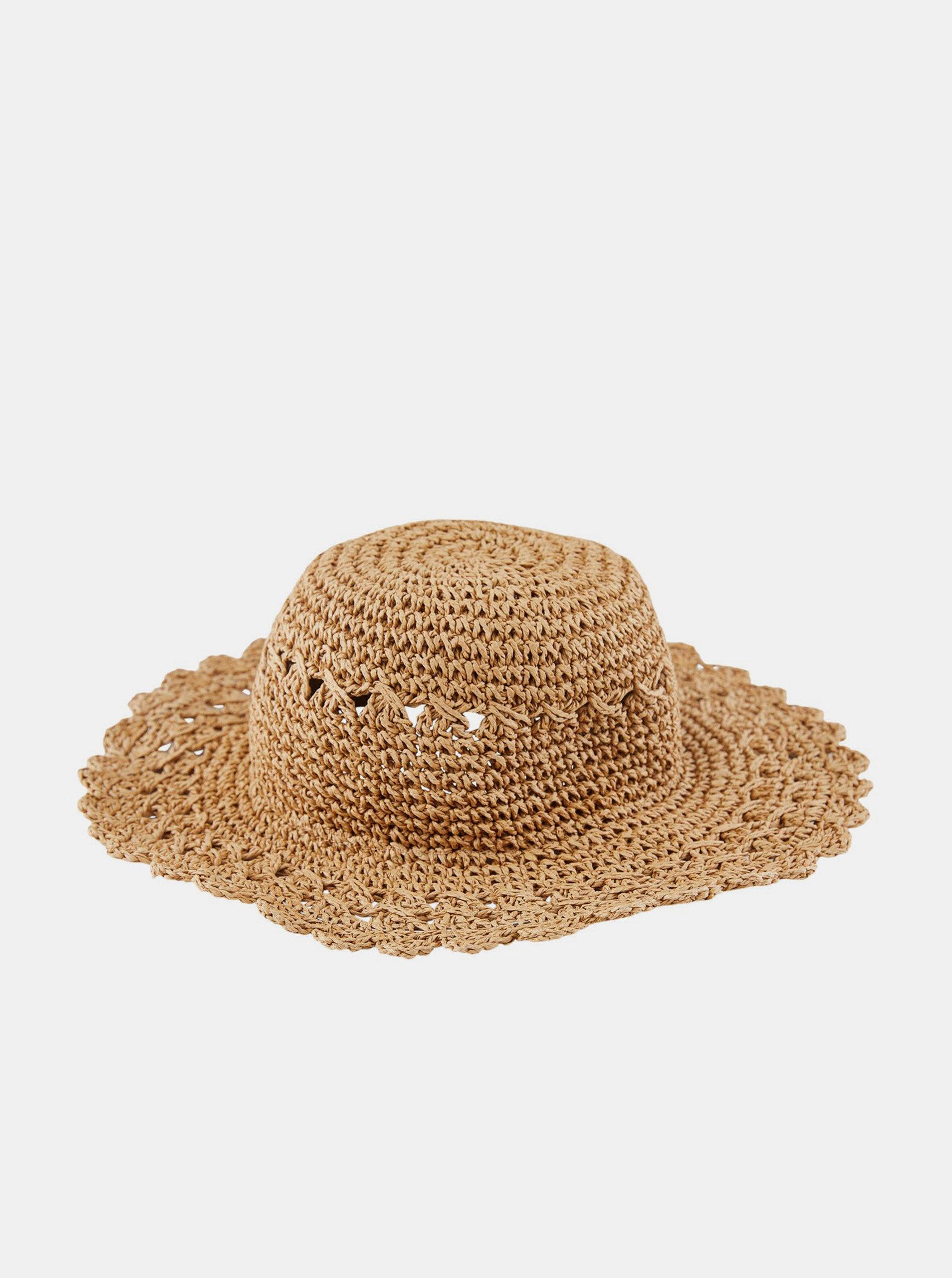 Hnědý slaměný klobouk Pieces Nopia