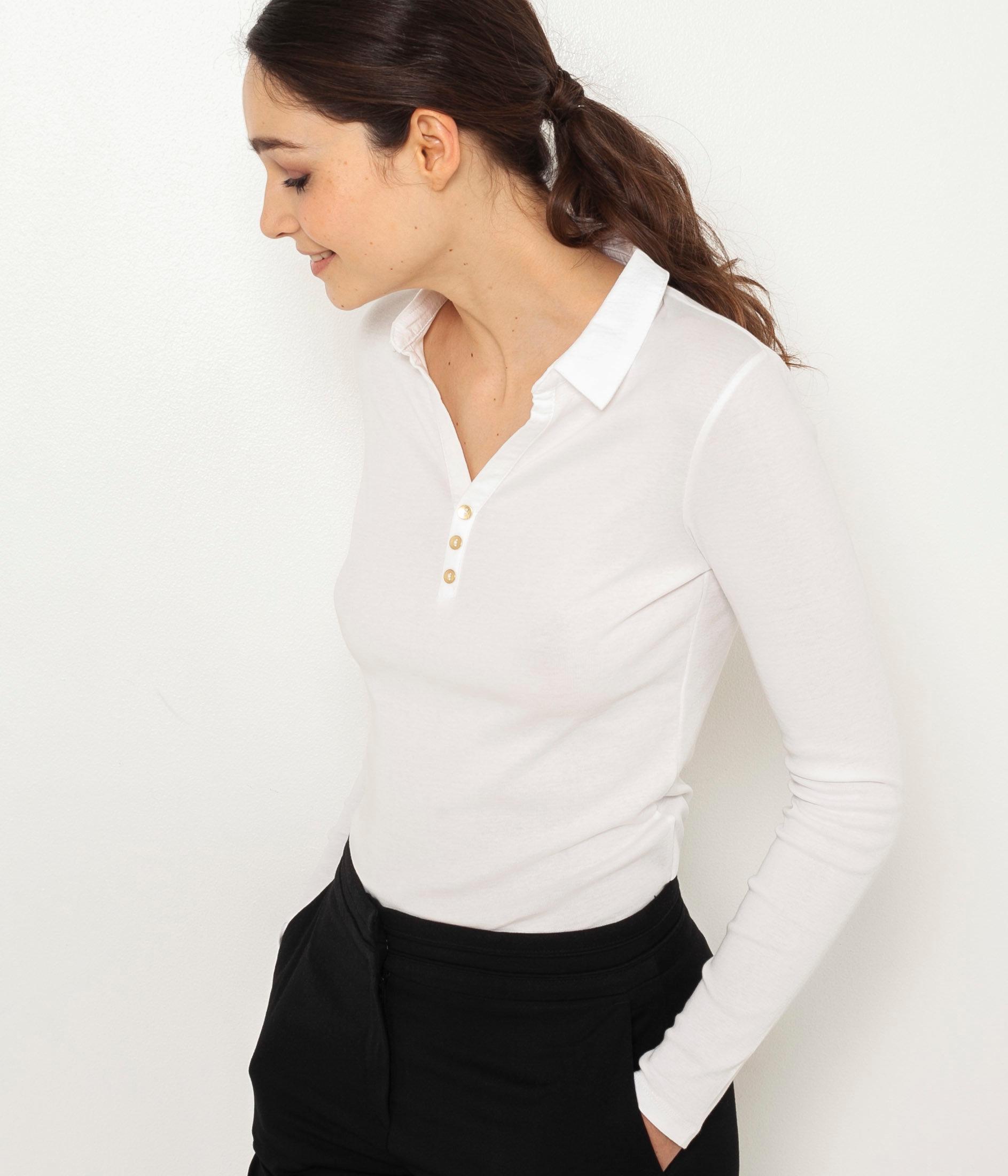 Bílé tričko s límečkem CAMAIEU