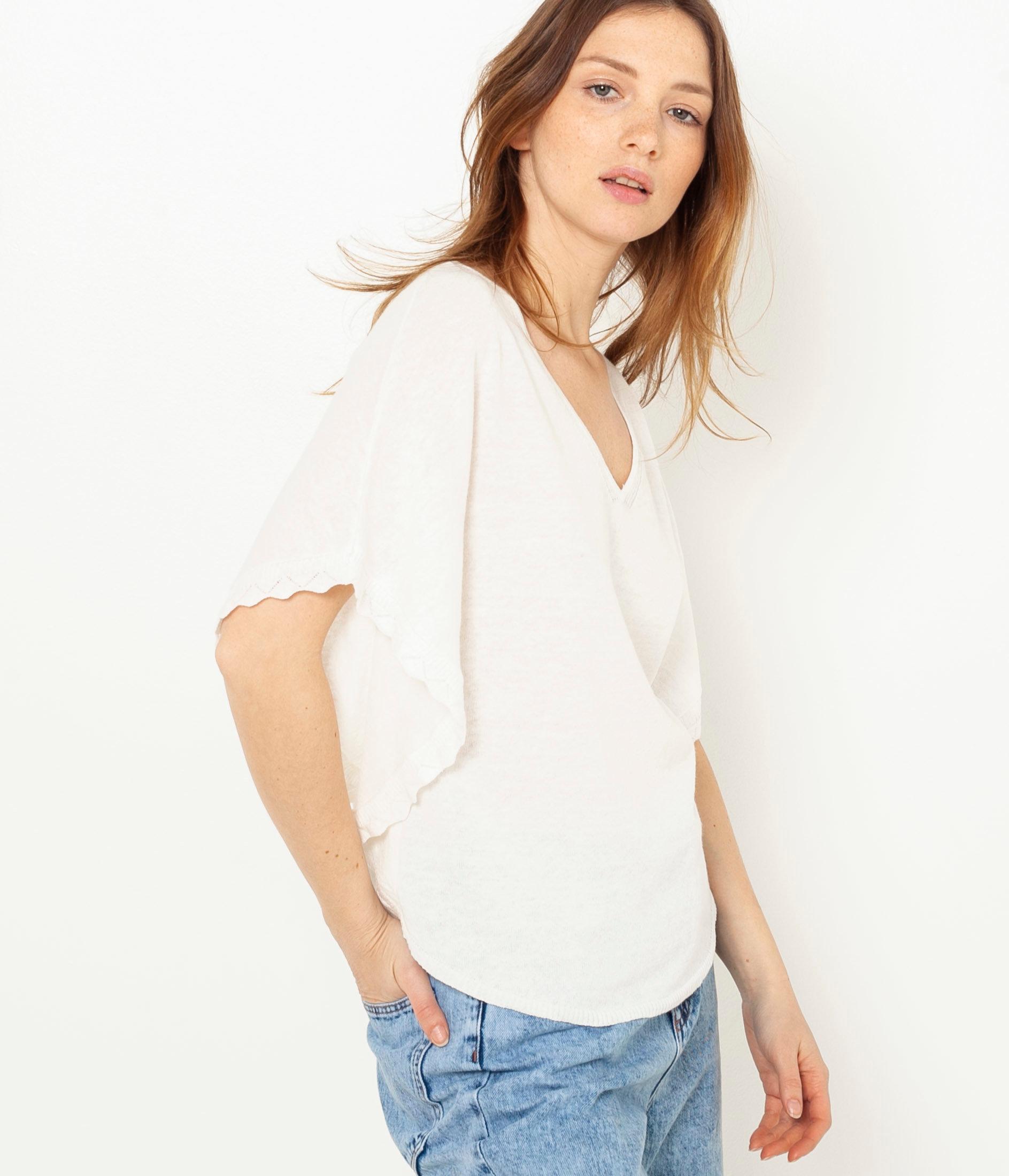 Bílé lněné tričko s netopýřími rukávy CAMAIEU