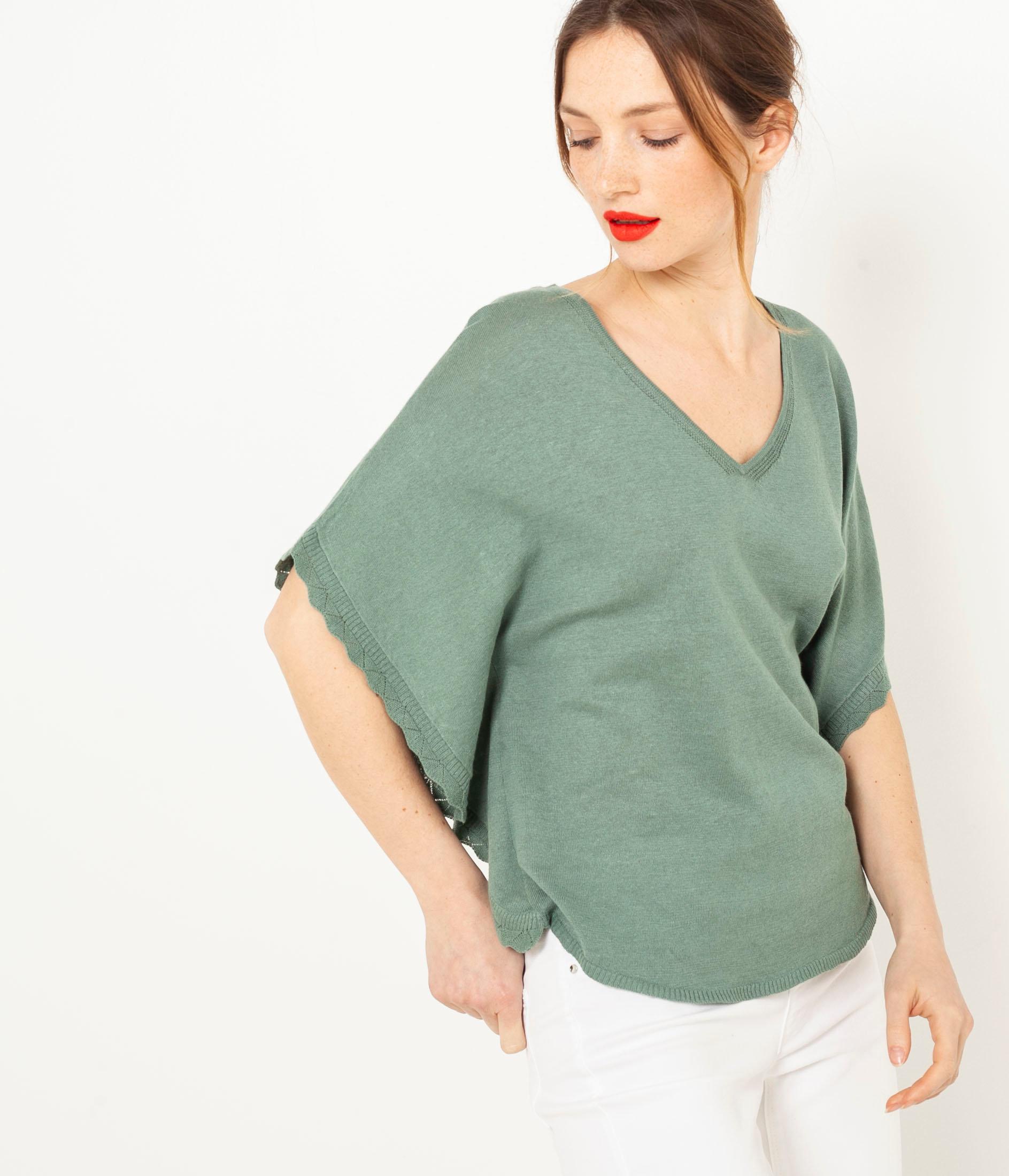 Zelené lněné tričko s netopýřími rukávy CAMAIEU