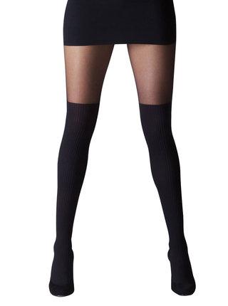 Čierne pančuchové nohavice à la nadkolienky Gipsy