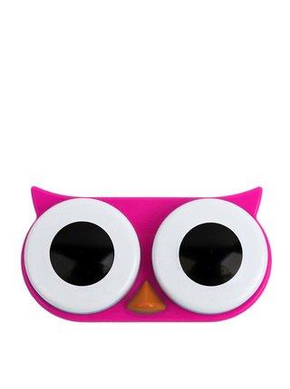 Růžové pouzdro na kontaktní čočky Kikkerland Owl