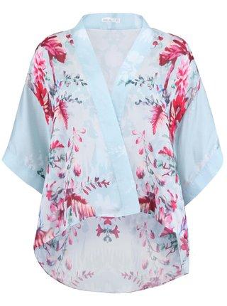 Svetlé zelenomodré dámske kimono s kvetinovou potlačou Lavand