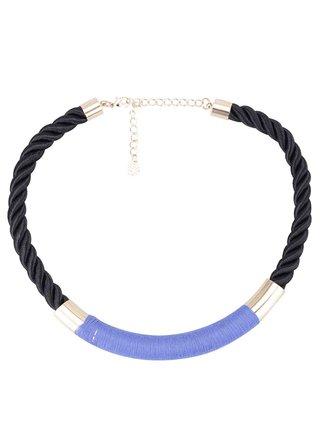 Černý náhrdelník s modrou aplikací Pieces Dita