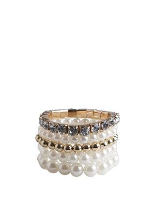 Bílo-zlaté perličkové náramky Pieces Nanni