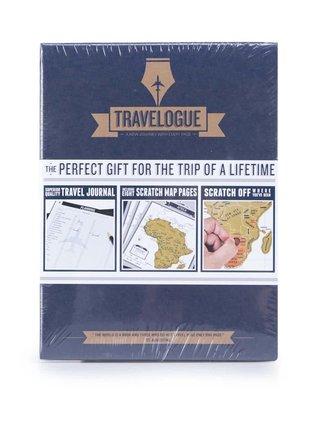 Modrý cestovný denník so stieracími mapami Luckies Travelogue