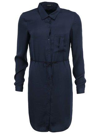 Tmavě modré šaty s dlouhým rukávem VILA Melli