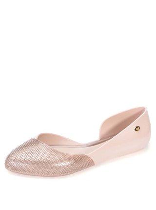 Světle růžové plastové otevřené baleríny Mel Tangerina