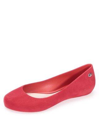 Červené semišové baleríny Mel Pop Flocked II