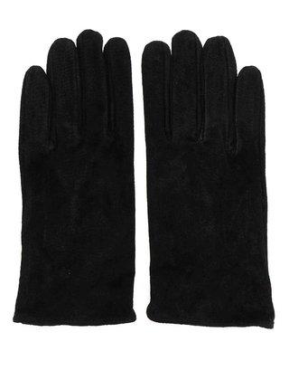 Čierné kožené rukavice Pieces Comet