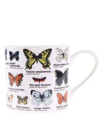 Cana alba cu imprimeu cu fluturi Gift Republic White