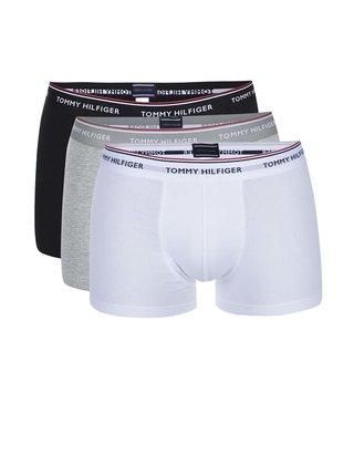 Sada tří boxerek v bílé, šedé a černé barvě Tommy Hilfiger