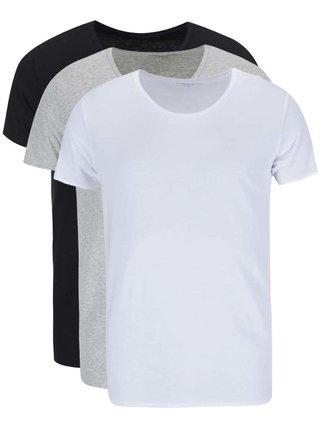 Kolekcia troch pánskych tričiek pod košeľu v bielej, sivej a čiernej farbe Tommy Hilfiger