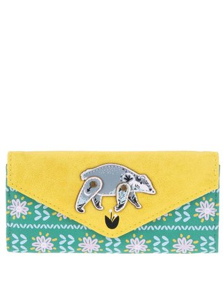 Žlto-zelená peňaženka s jazvecom a kvetmi Disaster Nordikka Badger