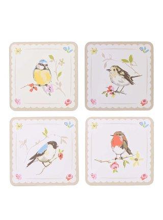 Kolekcia štyroch krémových podložiek s motívom vtáčikov Cooksmart Dawn Chorus