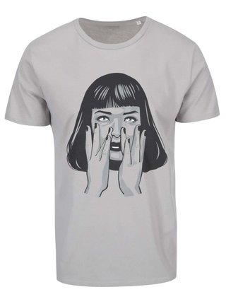 Sivé pánske tričko s potlačou ZOOT Originál Goddamn