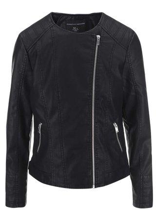 Čierna koženková bunda s asymetrickým zapínaním Dorothy Perkins Curve