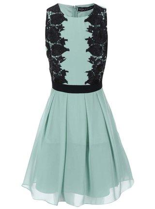 Zelené šaty s čiernymi čipkovanými detailmi Little Mistress