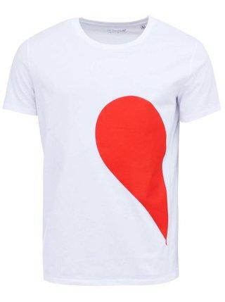 Tricou alb cu print - ZOOT Original His Side of the Heart