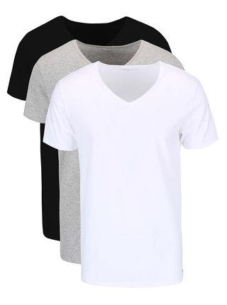 Set de 3 tricouri Tommy Hilfiger negru-alb-gri