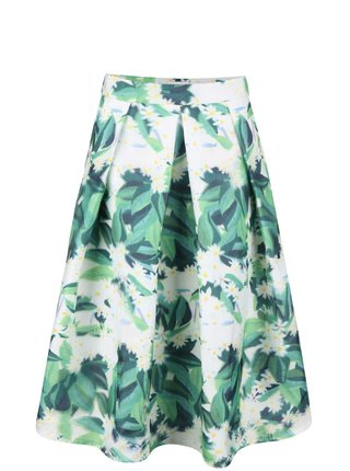 Bielo-zelená kvetovaná skladaná sukňa Apricot