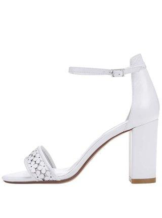 Biele kožené sandálky na podpätku Dune London Milee