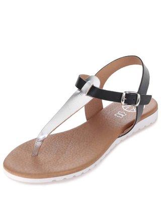 Strieborno-čierne kožené sandálky OJJU