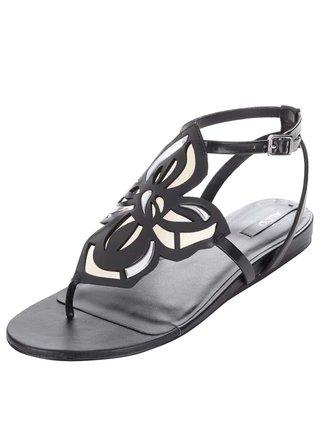 Čierne sandále s kvetinovým zdobením ALDO Kyara