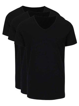 Súprava troch pánskych čiernych tričiek s véčkovým výstrihom Tommy Hilfiger