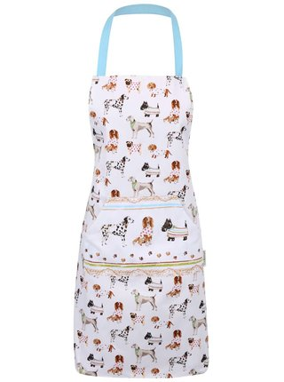 Modro-biela zástera s motívmi psíkov Cooksmart Best in show