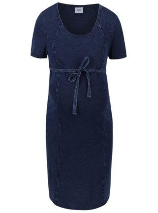 Tmavomodré tehotenské šaty s rifľovým dizajnom Mama.licious Wash