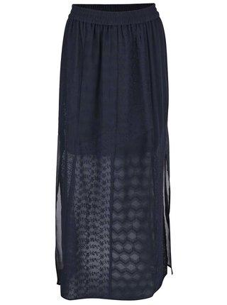 Tmavomodrá čipkovaná maxi sukňa s rozparkami Dorothy Perkins