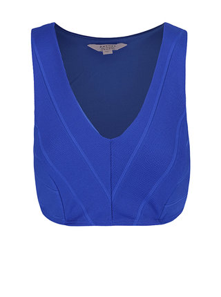 Cropped top albastru cu decolteu adanc - Miss Selfridge Petites